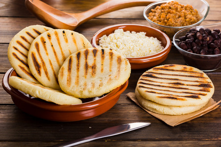 Breakfast typical of Latin American countries, Arepa Stock Photo