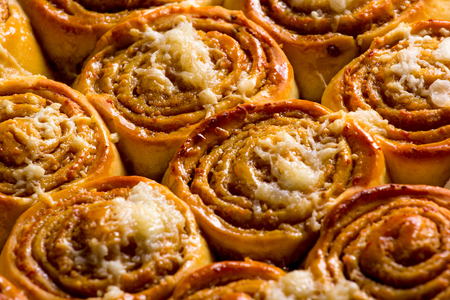 Cinnamon rolls with cheese baked and ready to eat. Golfeados typical dessert in Venezuela. Stock Photo