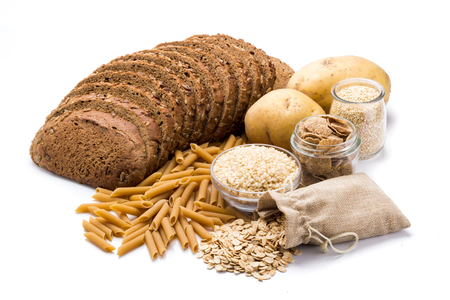 Group of whole foods, complex carbohydrates isolated on a white background Stock Photo