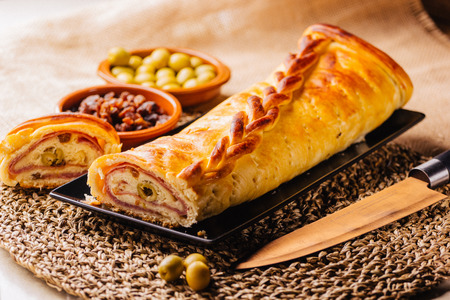 Venezuelan ham bread, typical for Christmas holidays in South America Stock Photo