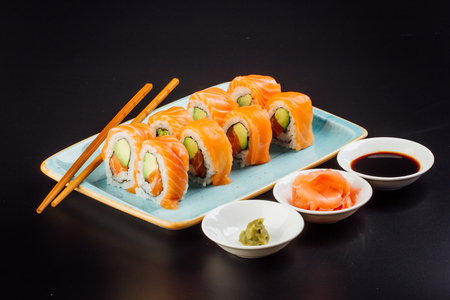 Sushi rolls ready to eat, japanese food