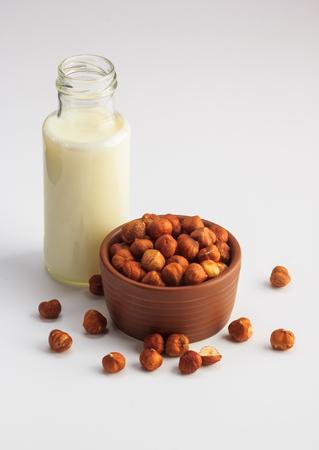 Hazelnut milk isolated on a white background, vegan milk