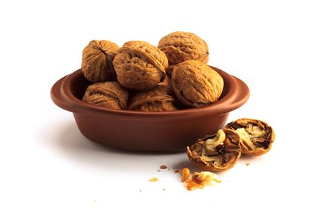 Walnuts on a white background 版權商用圖片