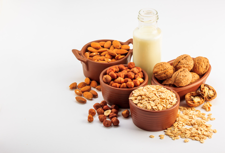Different types of vegan milk, almond milk, oat milk, hazelnut milk and walnut milk on a white background