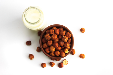 Hazelnut milk isolated on a white background, vegan milk 版權商用圖片 - 123030104