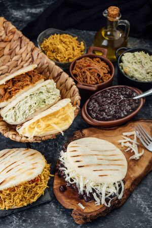 Different types of Venezuelan and Colombian Arepas. Stok Fotoğraf