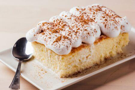 Tres leches cake, typical Latin American dessert, is made of condensed milk, evaporated milk and milk cream