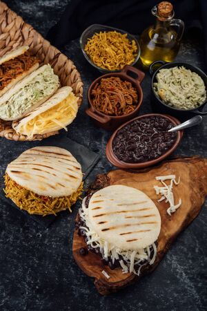 Different types of Venezuelan and Colombian Arepas. 版權商用圖片