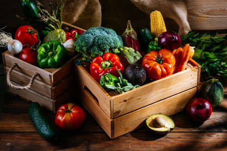 Fresh vegetables from the farm on a wooden table