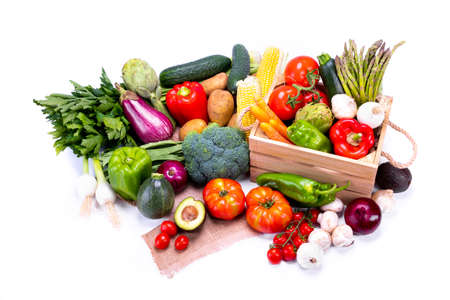 Colorful and fresh vegetables for a balanced and healthy diet on white background, healthy food