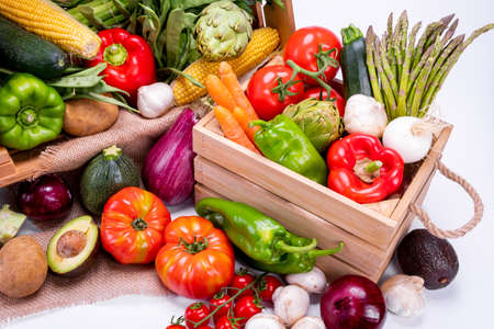 Top view of different types of vegetables for a balanced and healthy diet