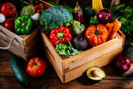 Fresh farm vegetables on a wooden table, balanced diet
