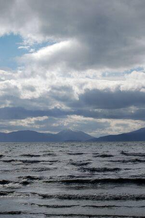stormy weather , lake prespa in macedonia photo