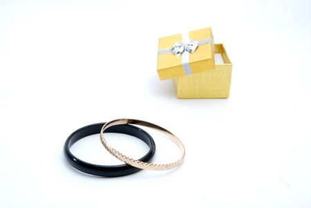 Woman bracelet and gift box photo