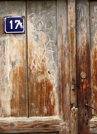 old wooden door with number 17       Stock Photo