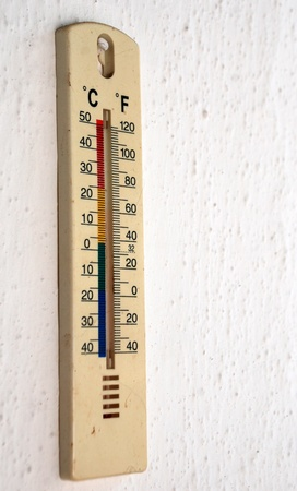Old celsius fahrenheit thermometer over wall Stock Photo