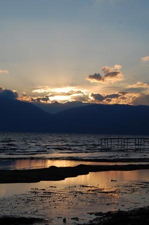 Sunset at Lake Prespa, Macedonia photo