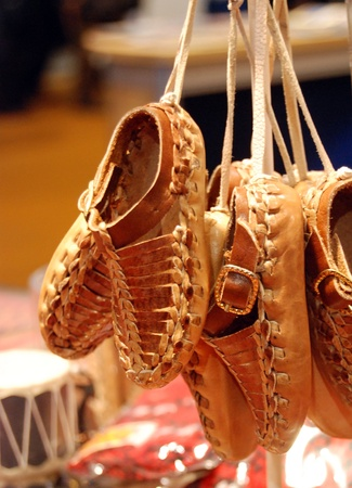 children s feet: macedonian traditional lether shoes,souvenir