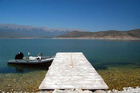 boat on lake prespa, macedonia photo