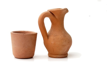 clay jug and rakia glass