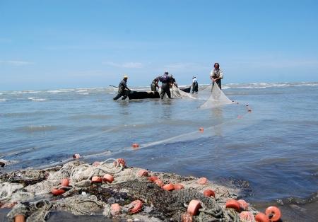 fisherman in albania preparing for fishing, may 2012