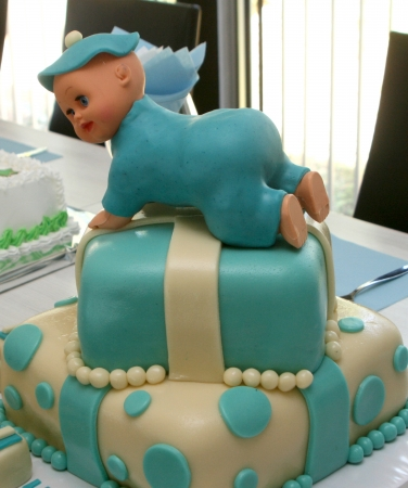 Pastel de beb� azul photo