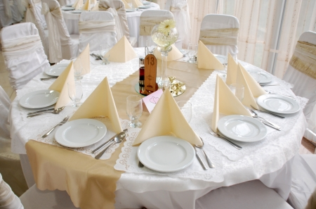 flower arrangement white table: wedding table decoration,round Stock Photo