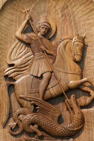 holzgeschnitzten Ikone des Heiligen Georg Lizenzfreie Bilder
