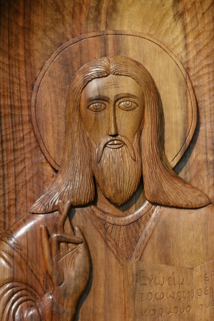 wooden icon of jesus christ photo
