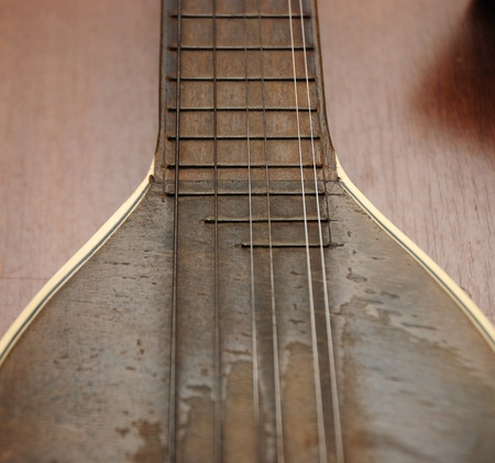 mandolin: vintage mandolin with strings,detail