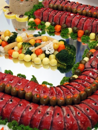 Buffet plate with different kinds of ham