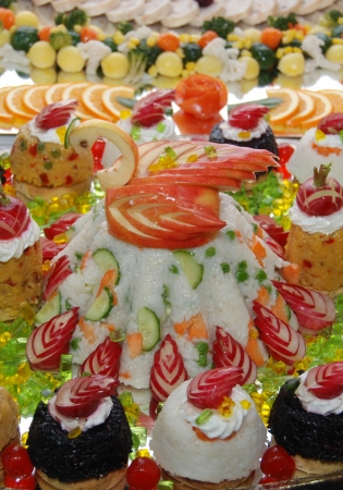 Catering swan cake food Stock Photo