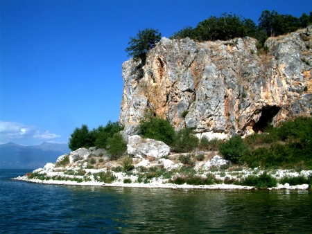 island golem grad on lake prespa, macedonia photo
