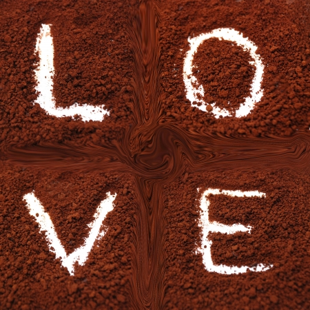 bebes niñas: palabra amor en la espalda de café