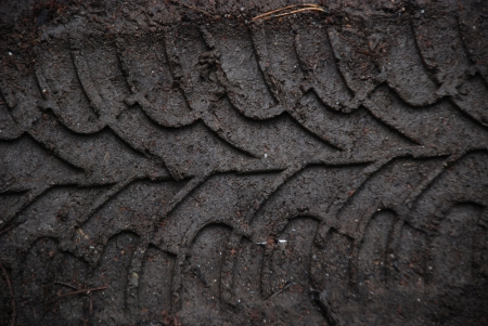 The trace of a tyre in  sand Stock Photo
