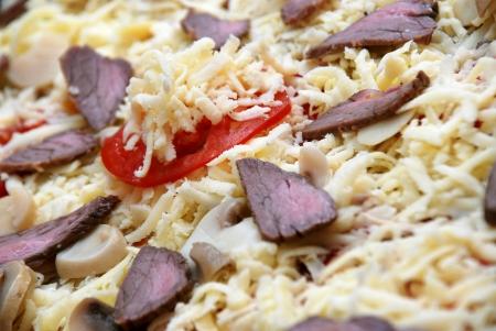 Closeup of freshly baked pizza  photo