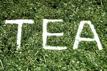 caffeine free: tea text on herbs Stock Photo