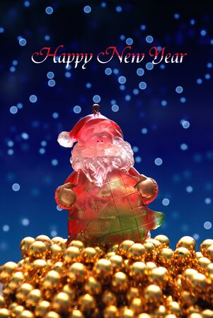 happy new year with rich santa claus photo