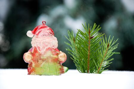 christmass: Christmass background, santa claus on pine tree with snow Stock Photo