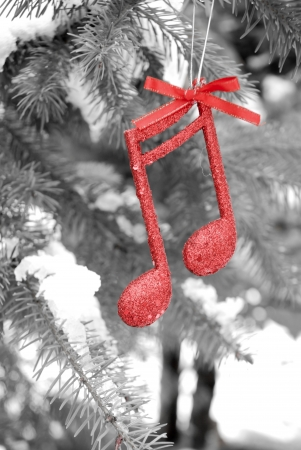 new year music note on snow and pine tree ,Christmass background Banque d'images