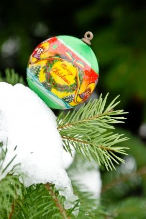 christmass: Christmass background, balls on snow and pine tree