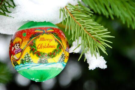 christmass: Christmass background, balls on pine tree