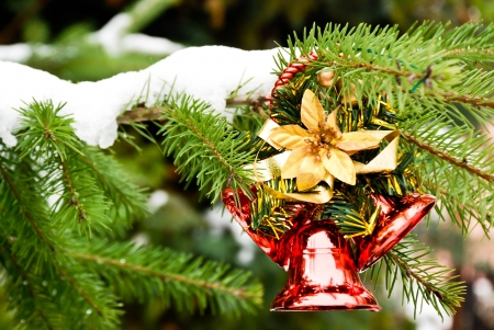 bedeck: Christmas bell on pine with snow Stock Photo