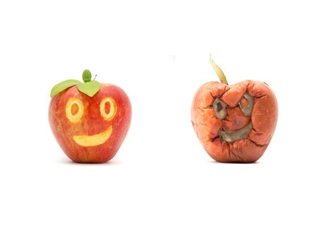rotten fruit: aging,time passing concept