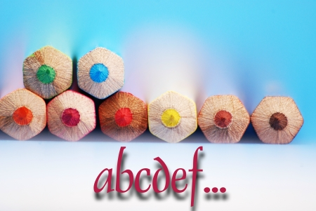 Alphabet text and pencils photo