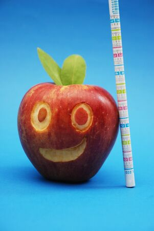 Health and scool concept with smilling apple  photo