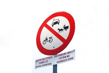 traffic sign ,prohibited for horsetruck,car and motors photo