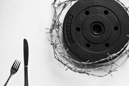 fork, knife and barbed wire Stock Photo - 17768403