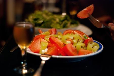 rakia: tomato salad and zolta rakia