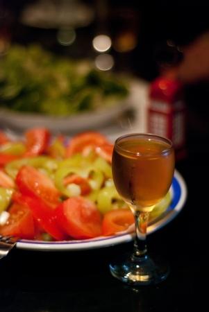 rakia: salad with yellow rakia from macedonia